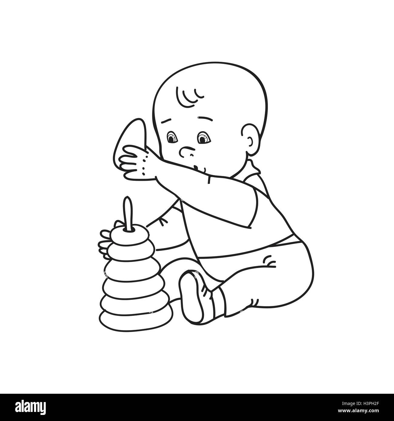 sch ne baby jungen spielen mit spielzeug kind spielt mit pyramide zeichnung kontur vektor. Black Bedroom Furniture Sets. Home Design Ideas