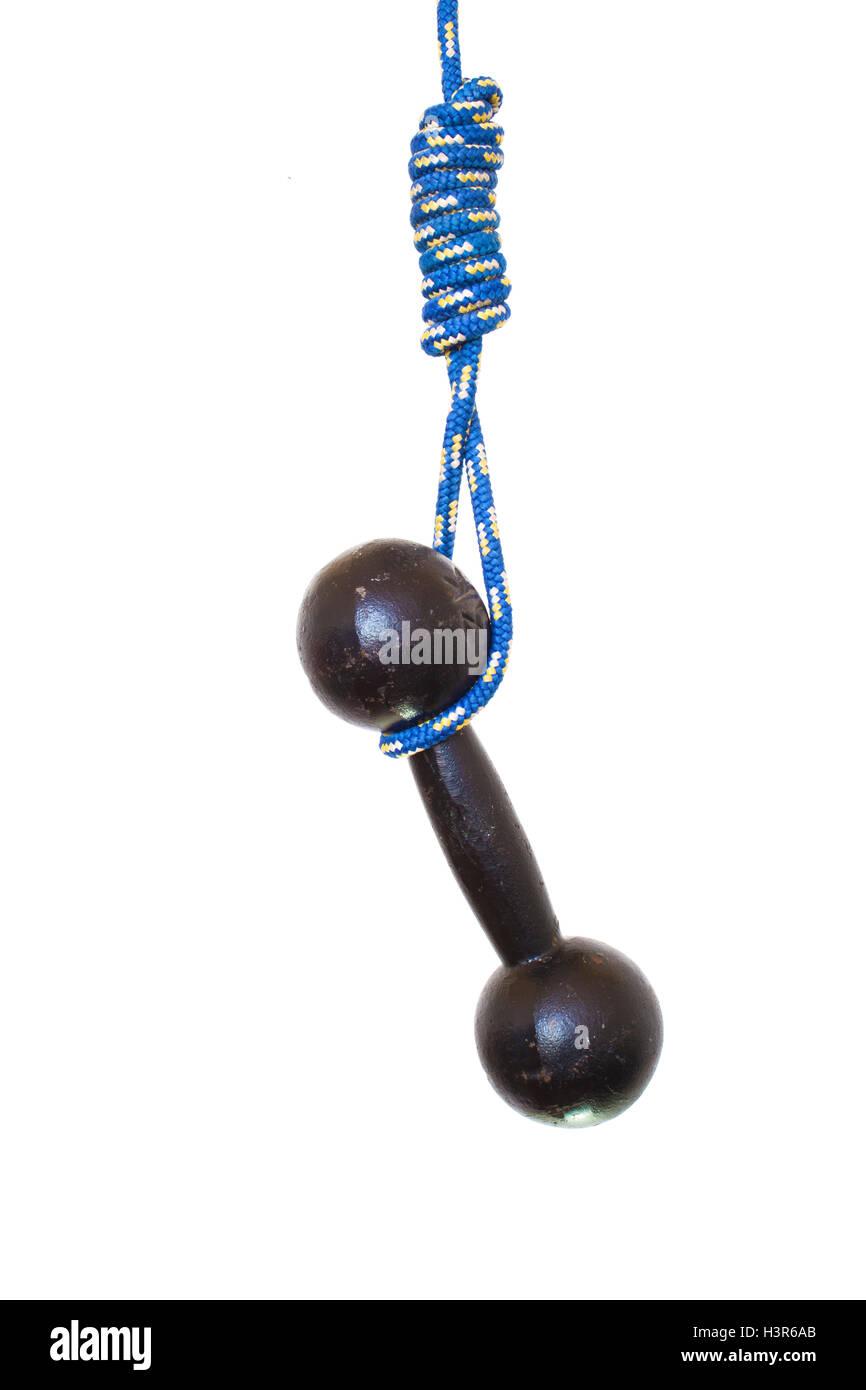 Beenden das Fitness-Studio. Hantel hängt an einem Seil-Schlinge ...