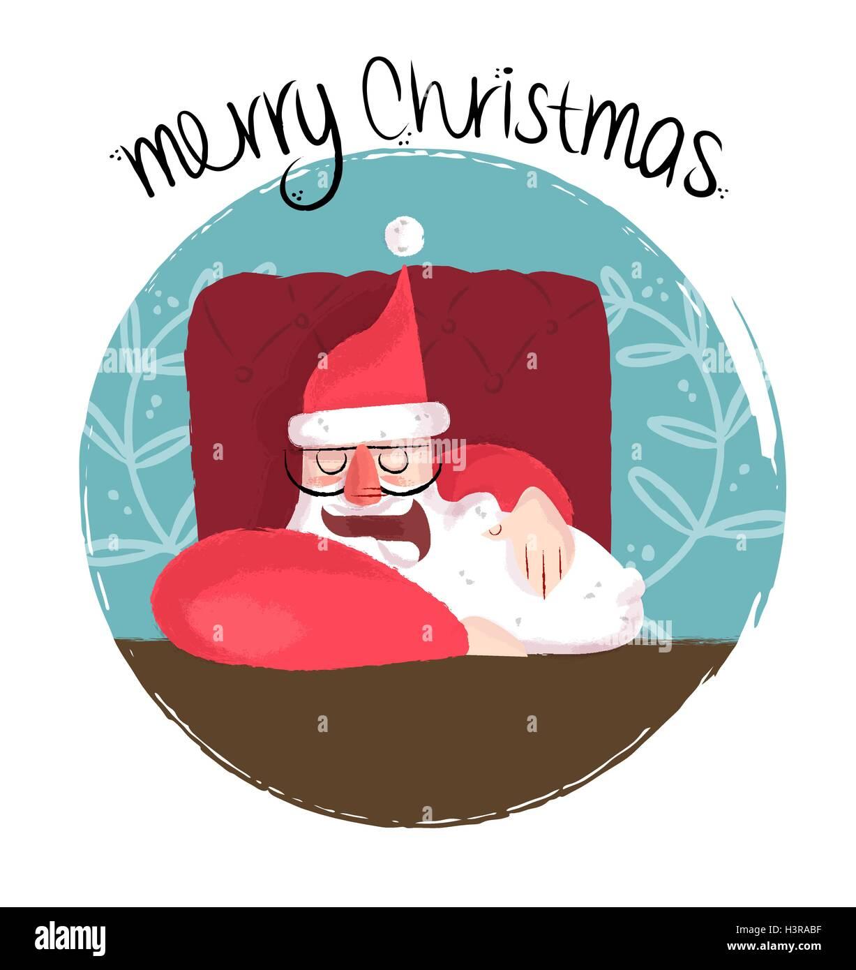 Frohe Weihnachten lustige Hand gezeichnet Außenillustration süßer ...