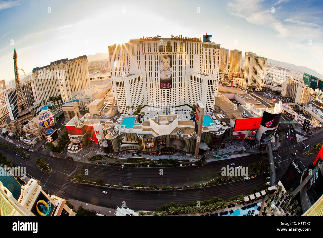 Morgen Blick des Las Vegas Boulevard mit Resort-Casinos im Blick aus Las Vegas Nevada Stockbild