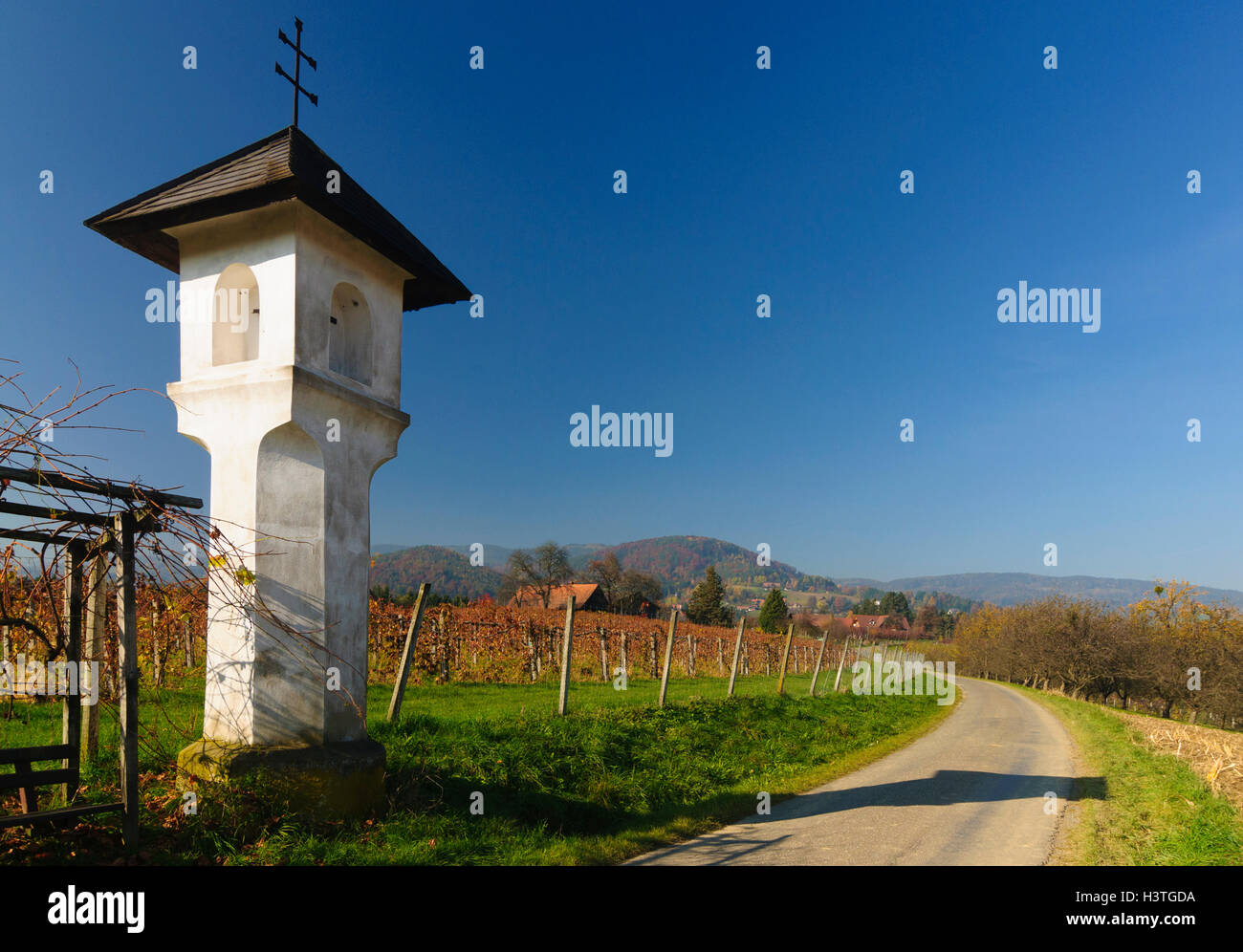 Bad Gams (Schilcher): Bildstock und Weinberge in Bergegg, Südwest-Steiermark, Steiermark, Steiermark, Österreich Stockbild