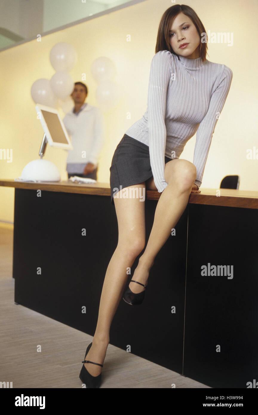 Büro, Schreibtisch, Frau, leider, Mann, auseinander, Überraschung ...