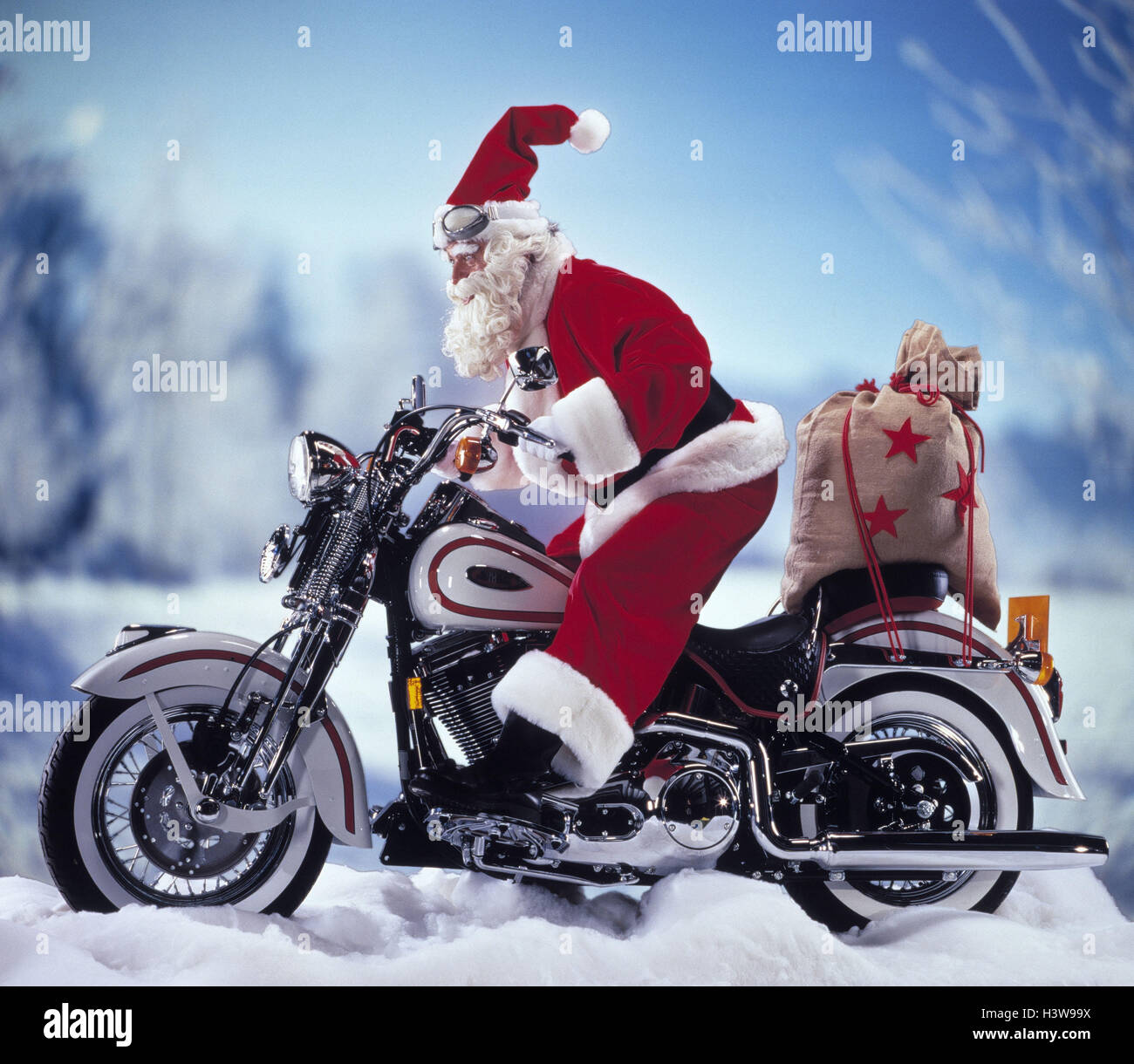 santa claus motorcycle stockfotos santa claus motorcycle. Black Bedroom Furniture Sets. Home Design Ideas