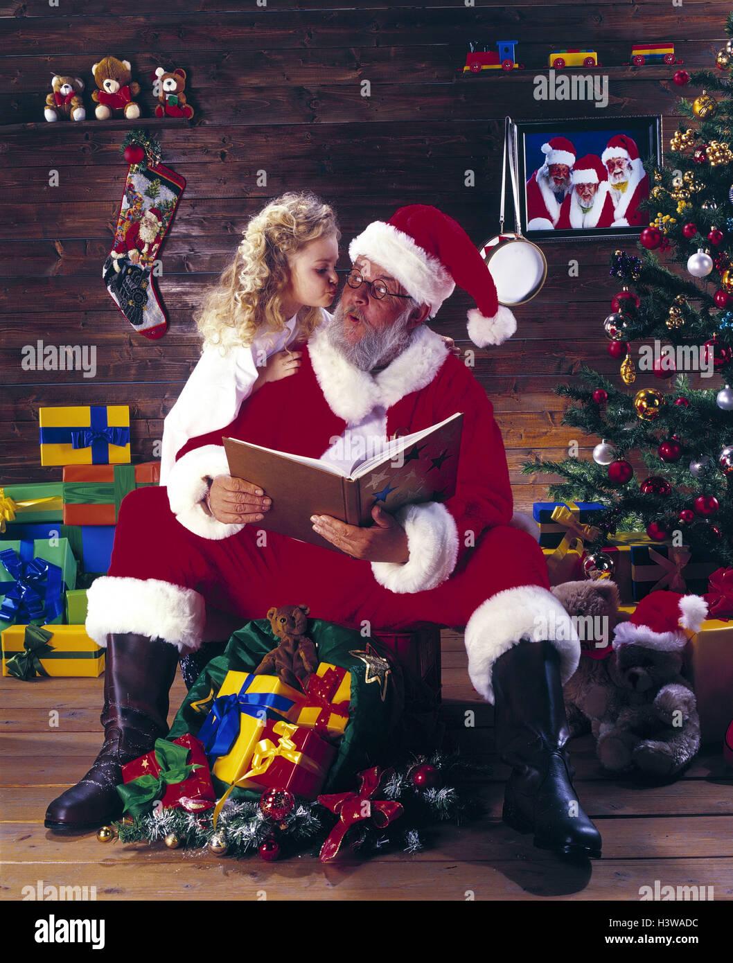 Geschichte Vom Weihnachtsbaum.Santa Claus Mädchen Kuss Buch Lesen Weihnachten Weihnachten