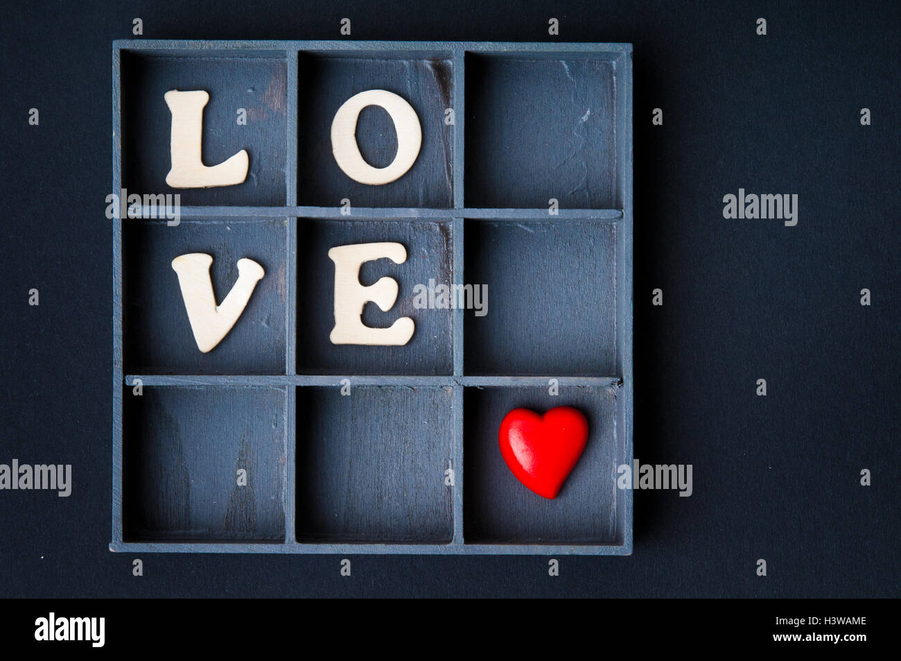 Herzform in einer Box, Liebe Konzept Stockbild