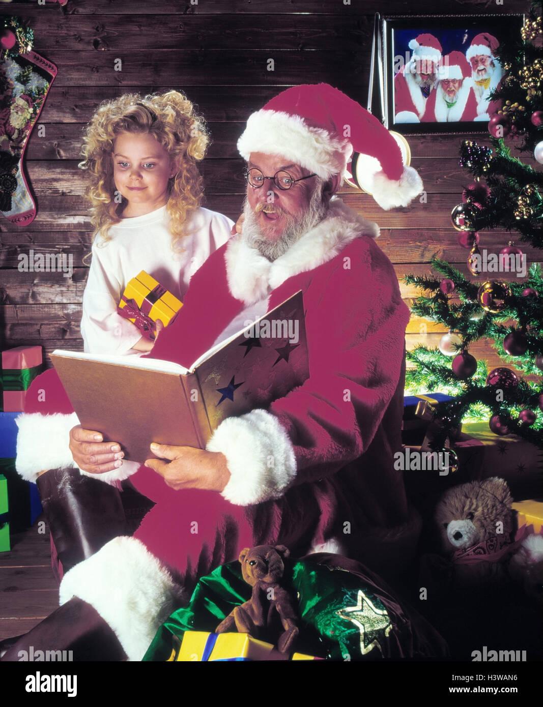 Weihnachtsmann, Engel, Buch Weihnachten, Kind, Mädchen, Geschenke ...