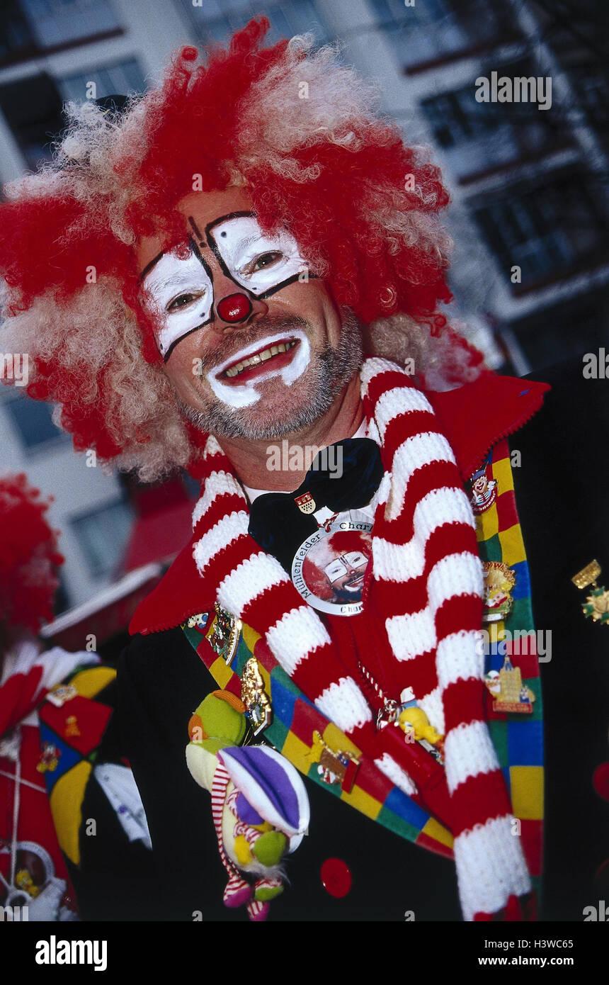 Deutschland Koln Karneval Clown Halbe Portrat Karneval