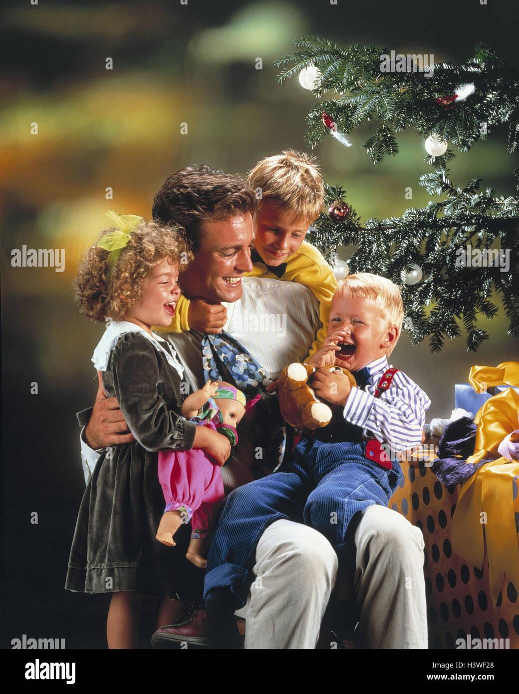 Weihnachten, Vater, Kinder, glücklich, Weihnachtsbaum, Geschenke ...
