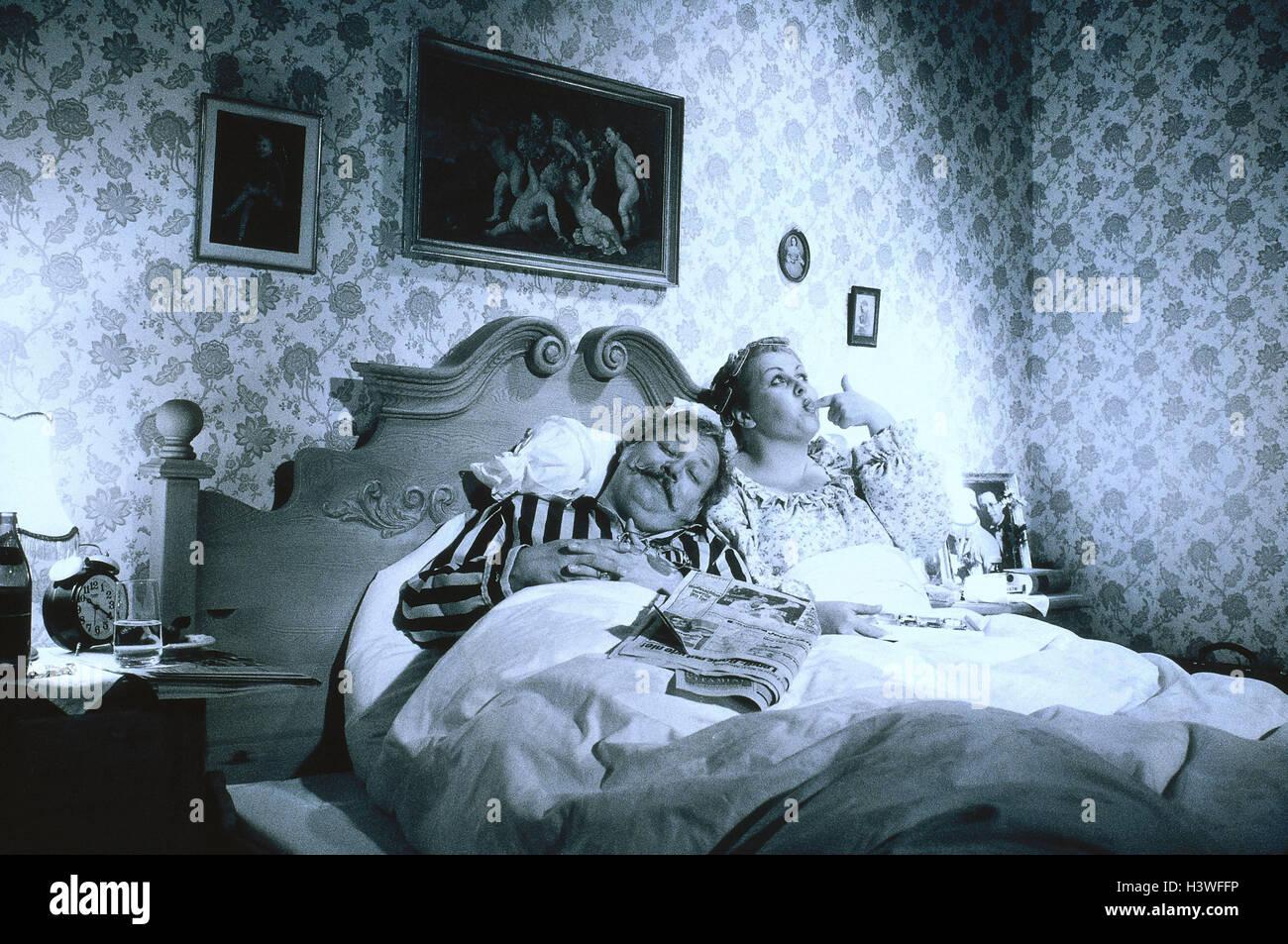 Nostalgie, Schlafzimmer, Ehepaar, Mitte alte Person, schlafen, Essen ...