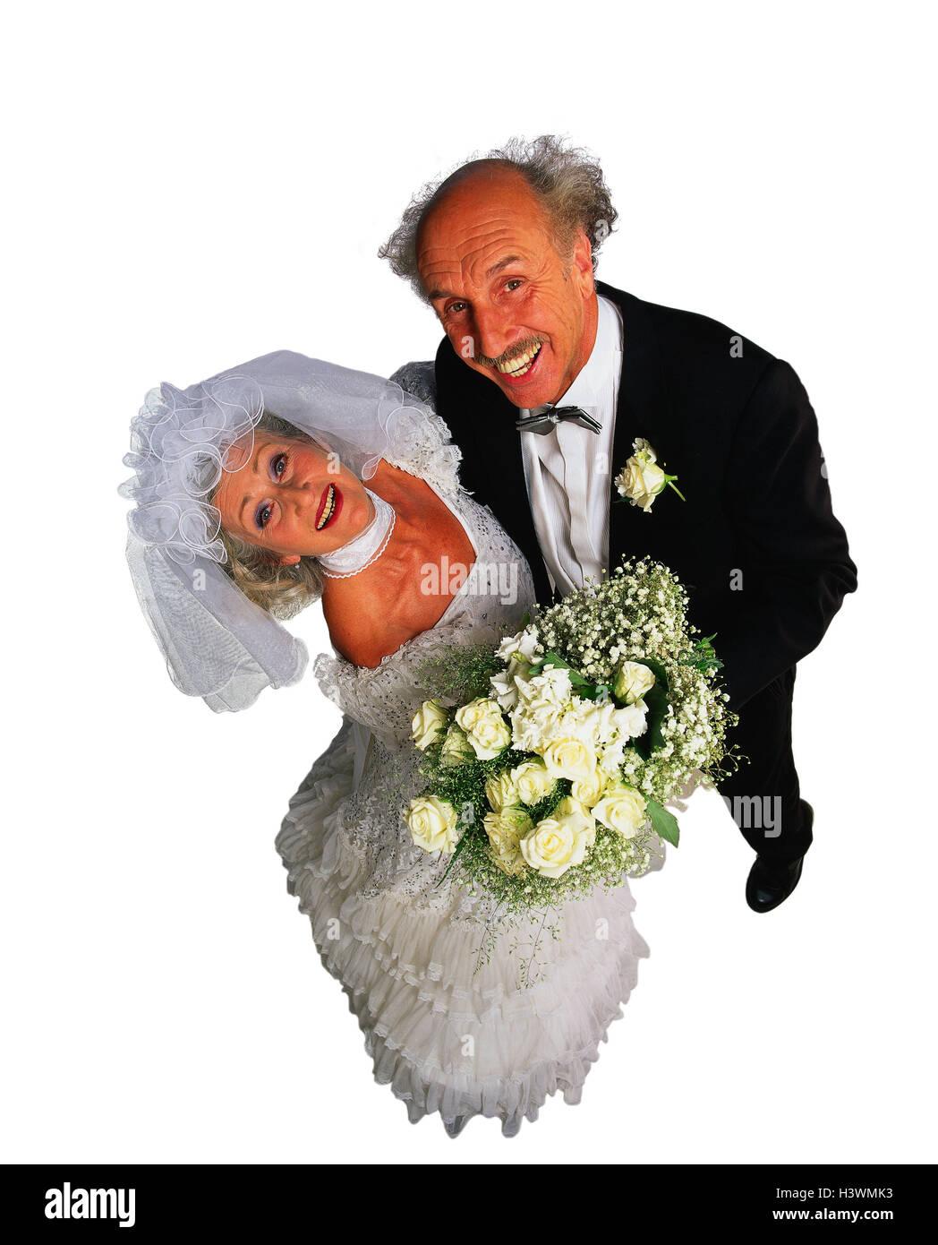 Braut und Bräutigam, Senioren, stehen, Freude, lachen, von oben ...