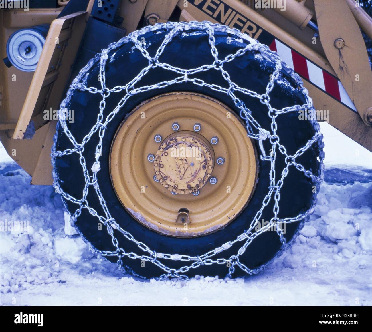 Räumfahrzeug, Detail, Reifen, Anti-Rutsch-Ketten, Schnee, Winter, wheeled Loader, Winterdienst, Fahrzeug, zu Stockbild