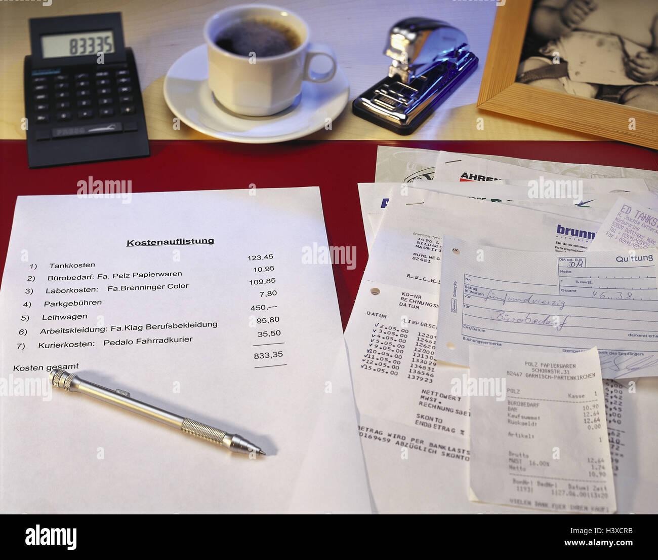 Schreibtisch, Kosten, Inserat, Betriebsausgaben, Gutscheine, Belege ...