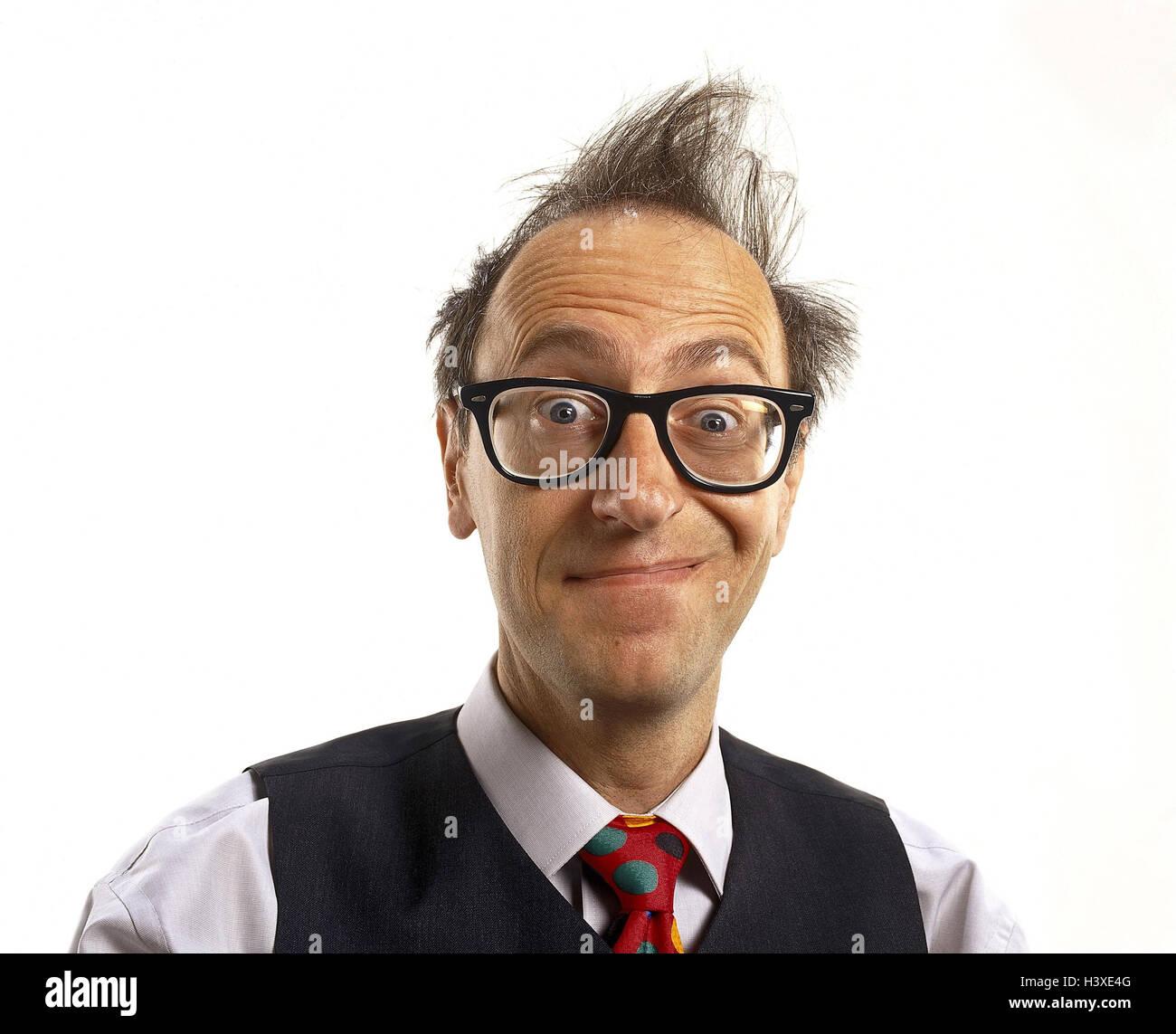 Mann Mittlerer Alter Mensch Haare Rüschen Chaotisch Brille