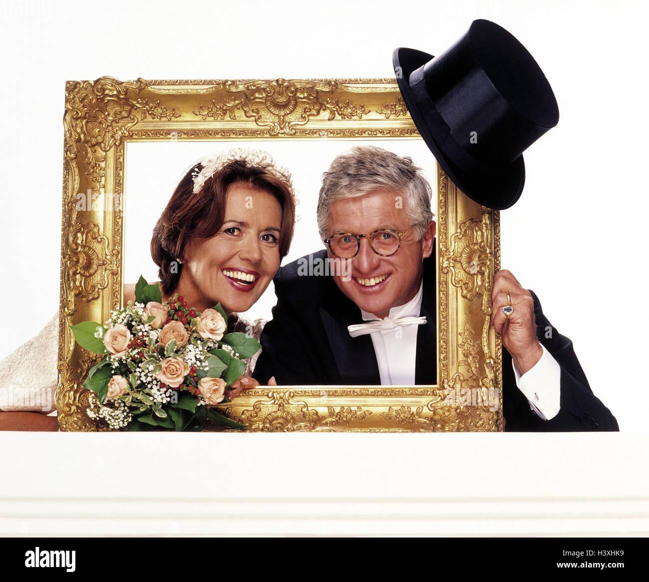 Braut und Bräutigam, Bilderrahmen, Zylinder, Brautstrauß, Portrait ...