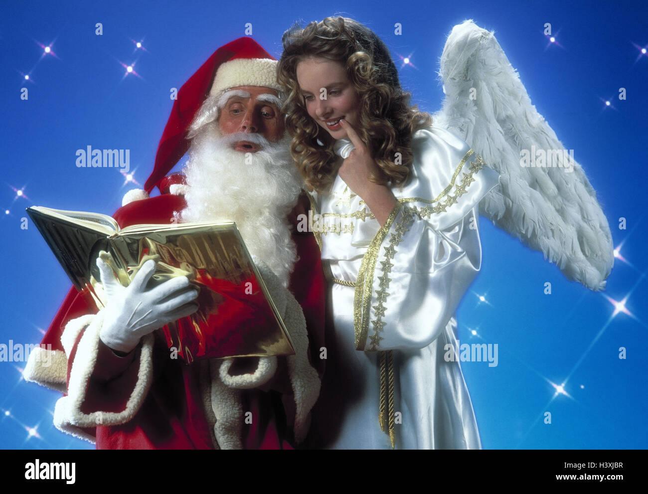 Weihnachtsmann, Engel, Golden, Buch, Mimik, Lächeln, Mann, Schlange ...