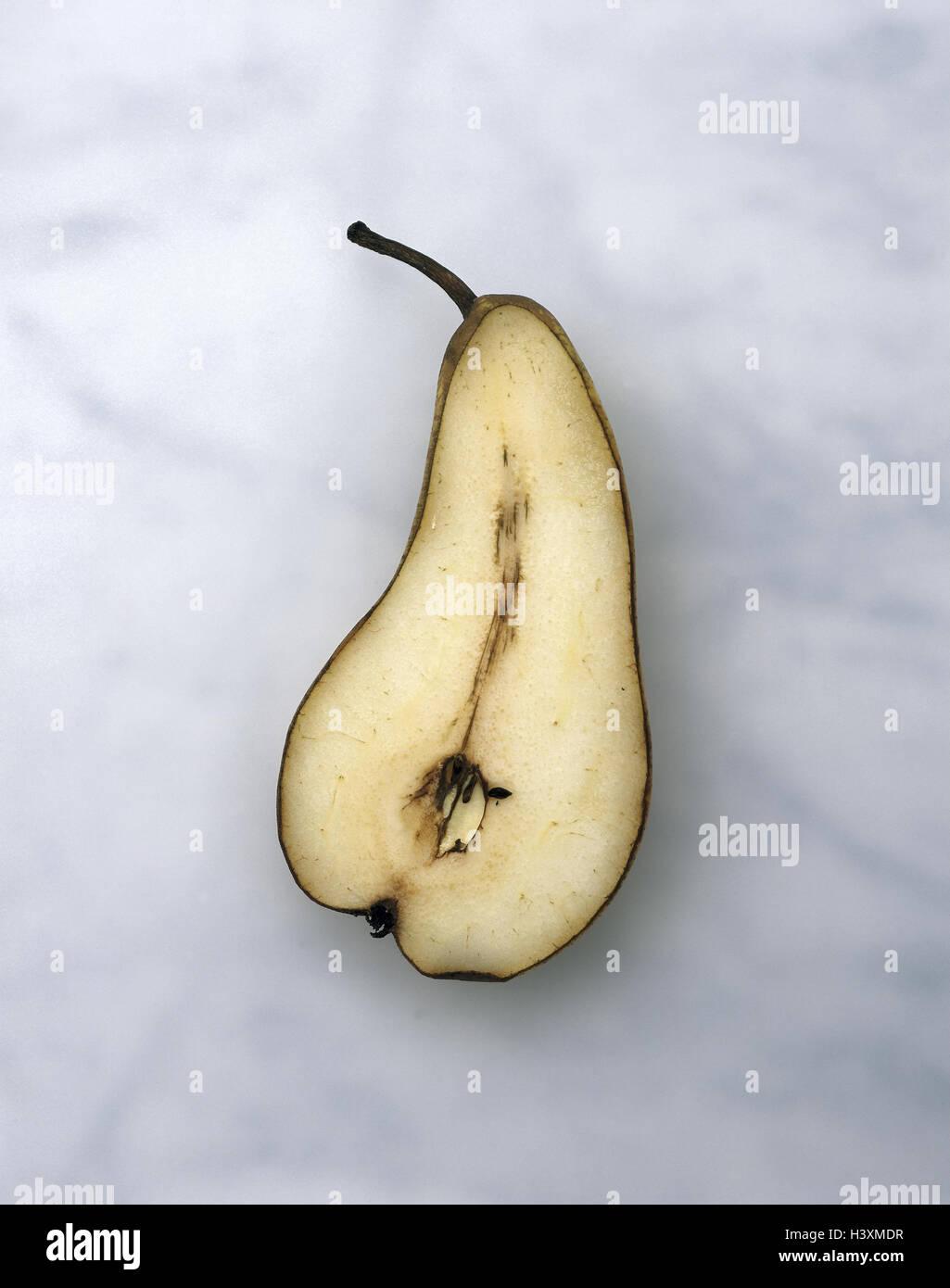 Birne, Hälften, braun, Obst, Birnen, halb, halb, Obst, Pyrus Communis, Kernobst, Ernährung, Essen, gesund, Stockbild