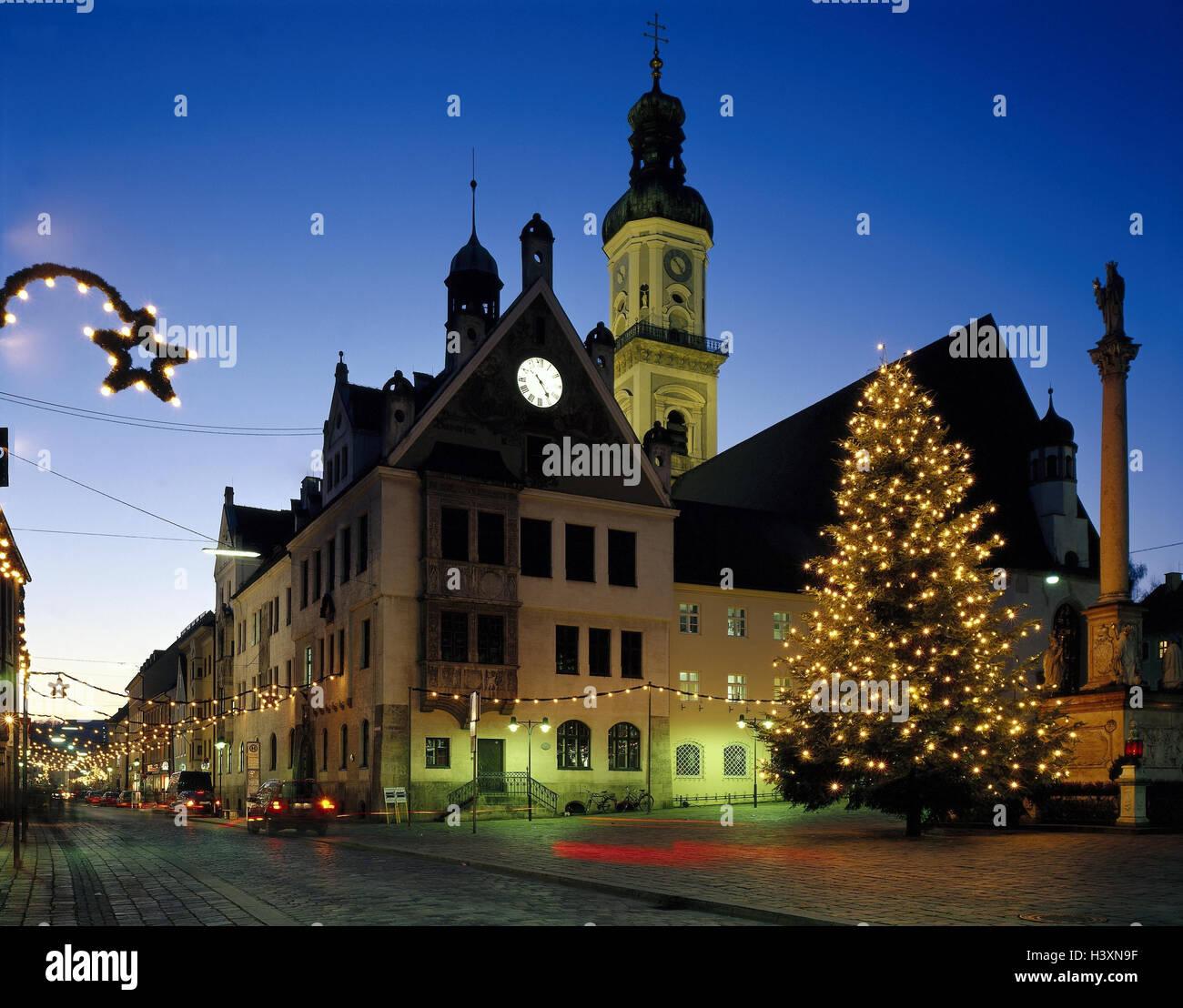 Weihnachtsbeleuchtung Für Draußen.Deutschland Bayern Freising Marienplatz Weihnachtsbeleuchtung
