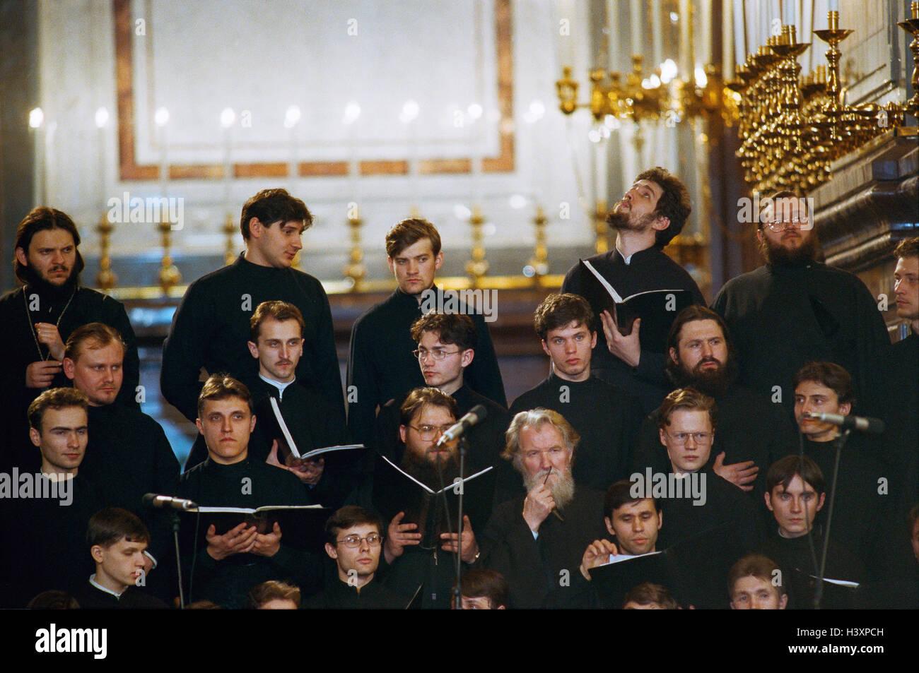 Russland, Moskau, Kirchenchor, Männer, singen, keine Modell-Freigabe-Pfarrkirche, Mönche, orthodoxen, Stockbild