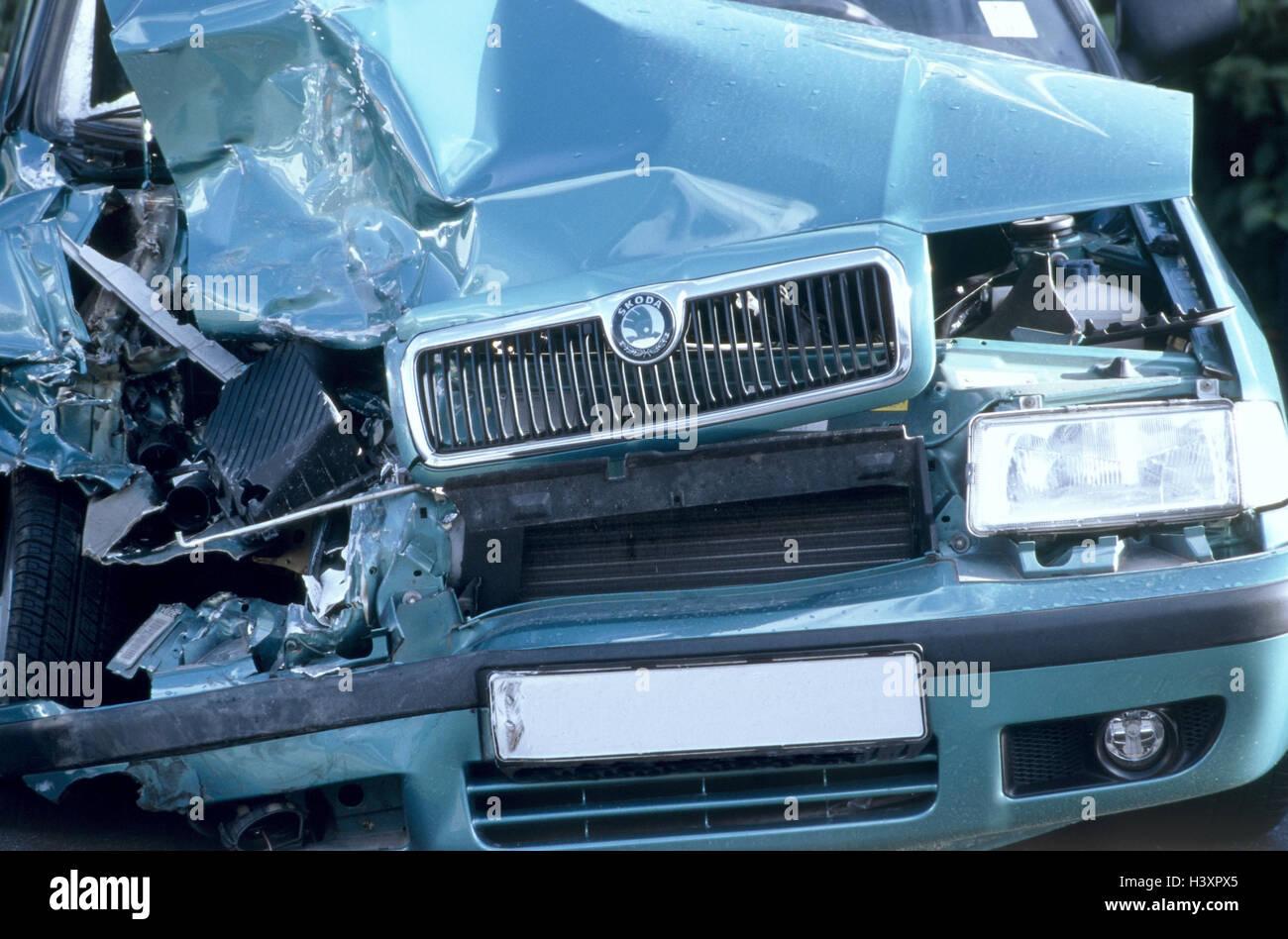 Unfall, Verkehr, Auto, frontalen Schaden, Mark unkenntlich machen ...