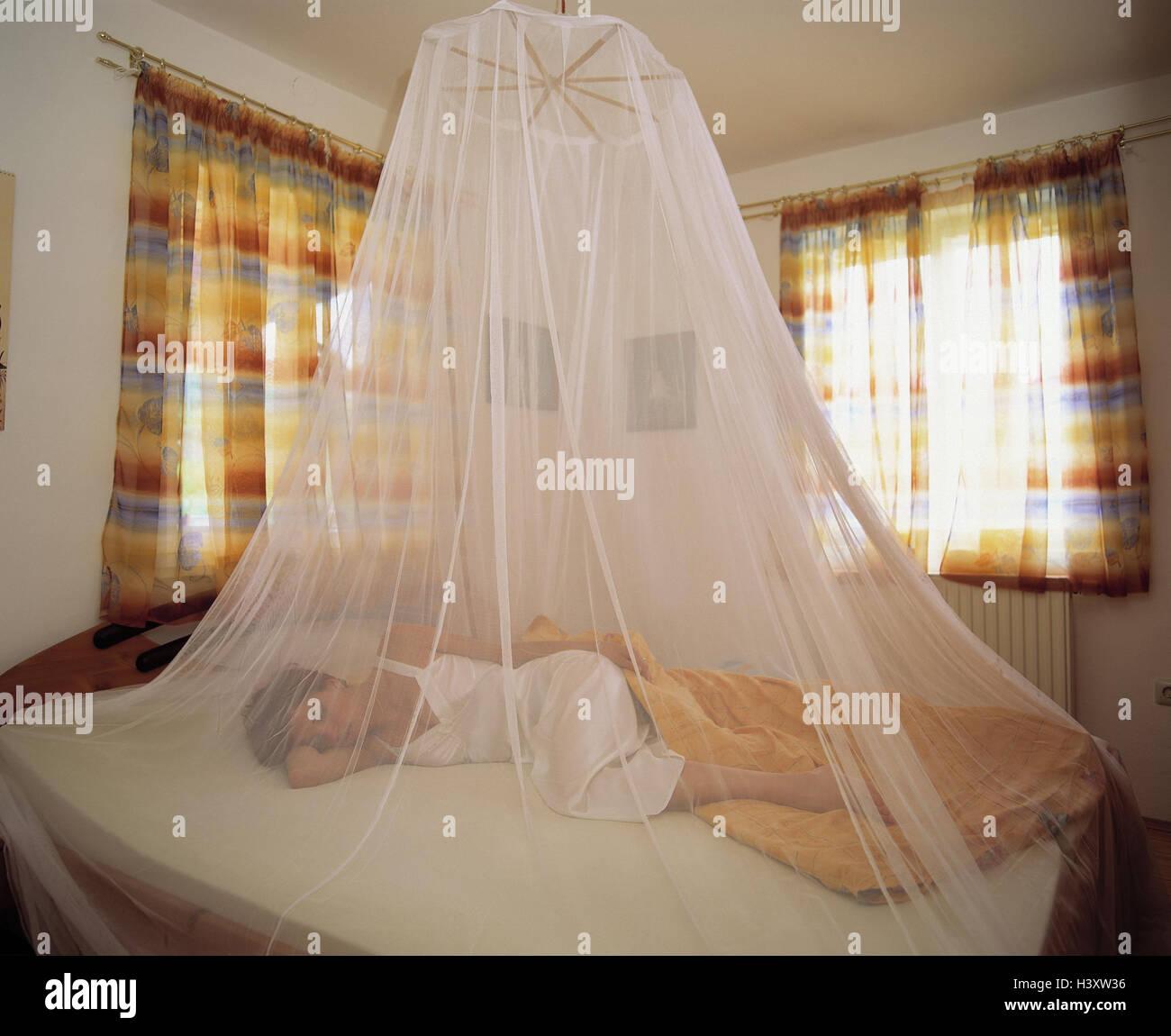 Frau, Bett, schlafen, Moskitonetz, Schlafzimmer, jung, Lüge, Stachel ...