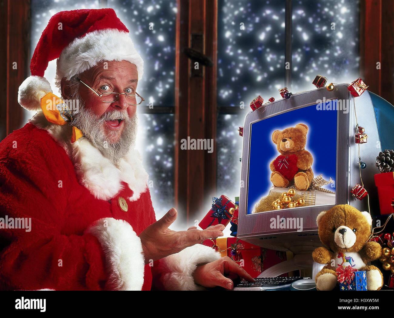 Santa Claus, Computer, Bestellung, Geschenke, Geste, x-mas ...