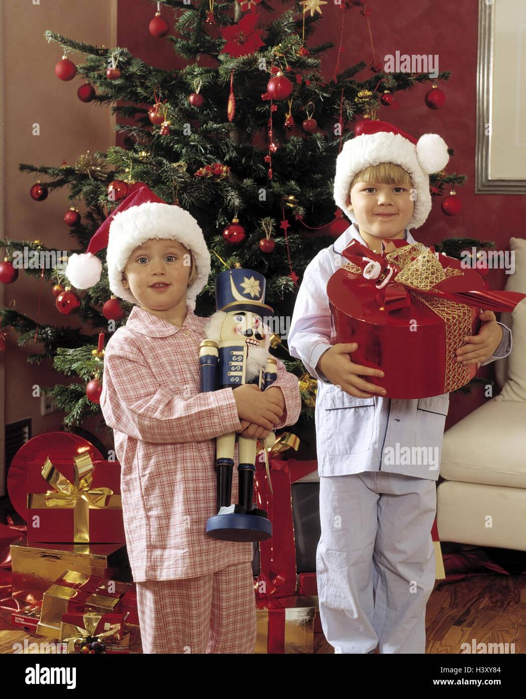 Wohnzimmer, detail, Weihnachten, Kinder, zwei, Schlaf Anzug ...