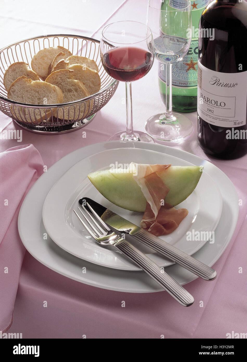 Restaurant, Tabelle, Detail, Brotkorb, Platte, Melone, Schinken ...
