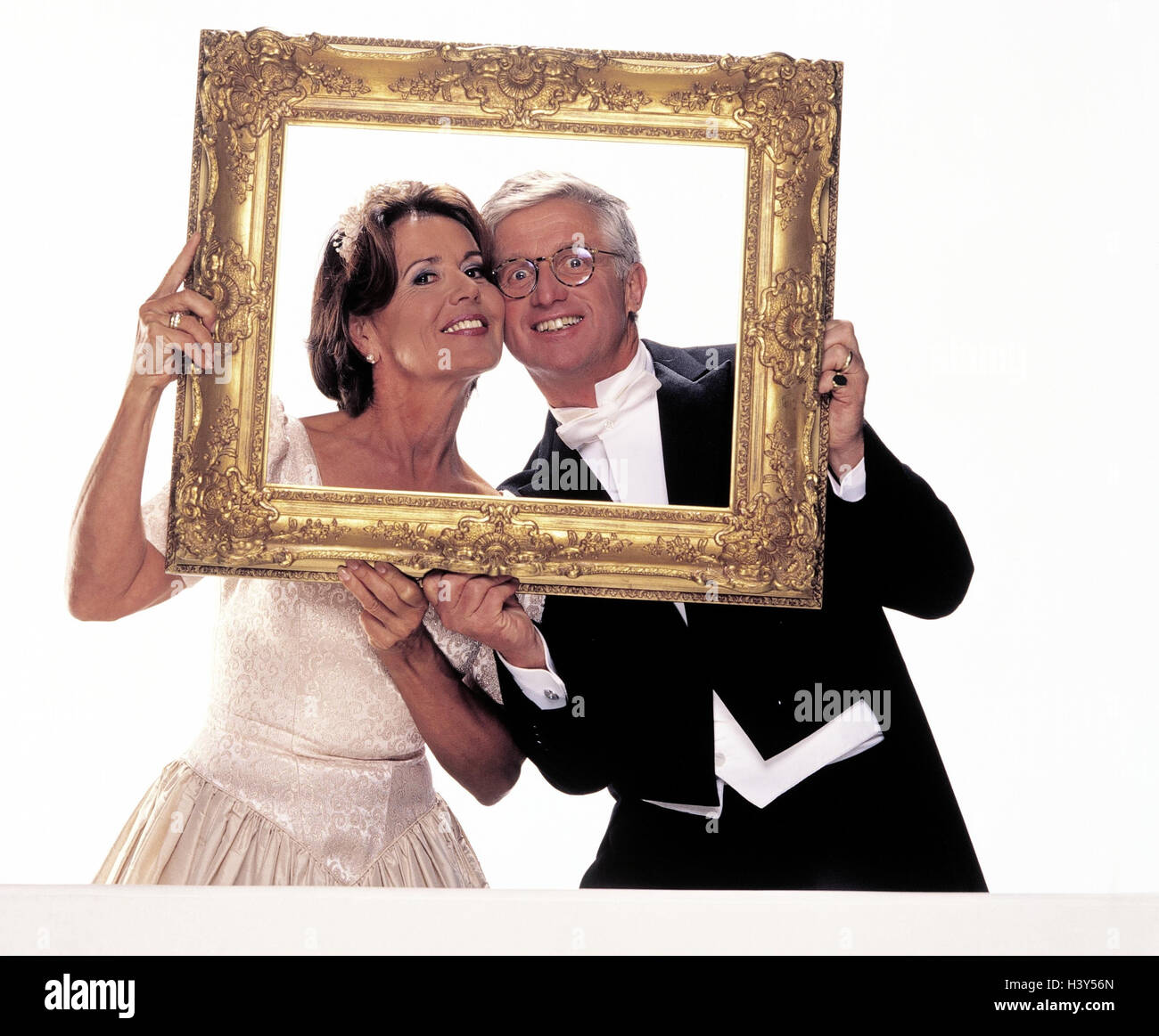 Hochzeit, Braut und Bräutigam, Bilderrahmen, halbe Porträt, Trauung ...