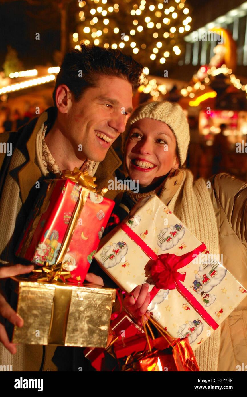 Weihnachtsmarkt, paar, shopping, glücklich, Weihnachtsabend, Porträt ...