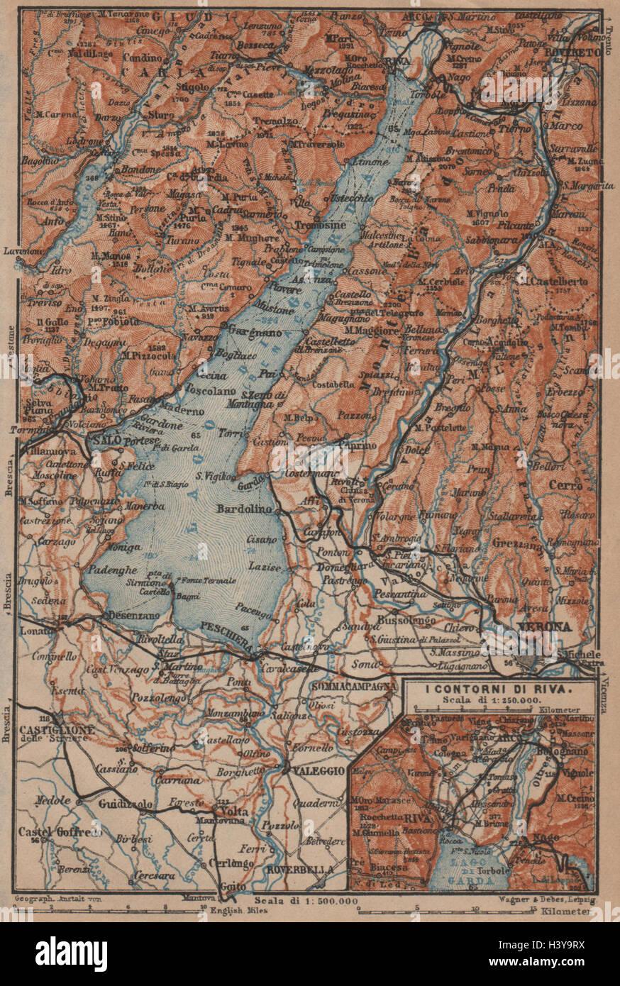 Karte Italien Gardasee.Lago Di Gardasee Riva Salo Peschiera Verona Topo Karte Italien