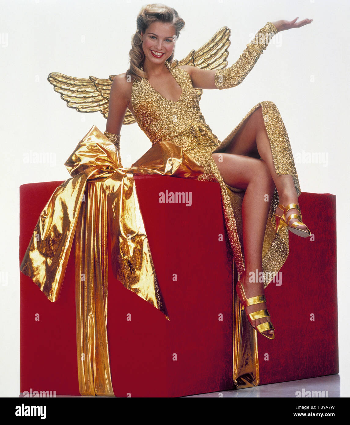 Weihnachten, Geschenk, Übergröße, Frau, Engel, Geste, Geschenke ...