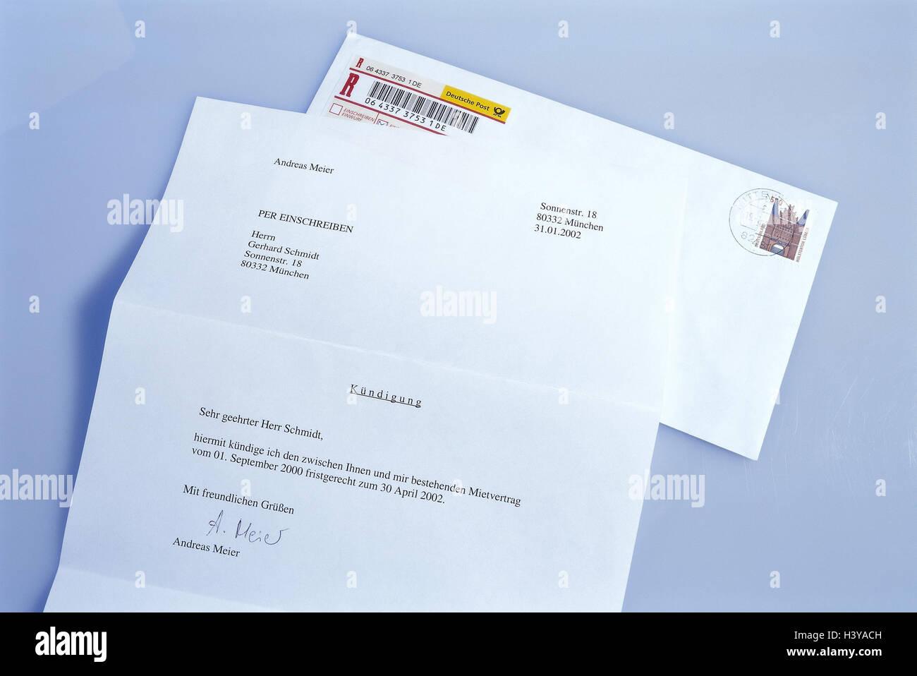 Umschlag Brief Mitteilung Mietvertrag Einschreiben Schriftlich