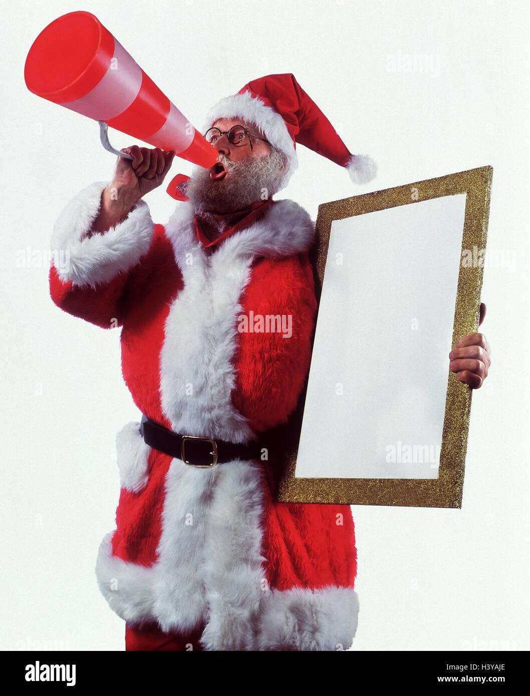Santa Claus, Megaphon, Bild, Bilderrahmen, Weihnachten ...