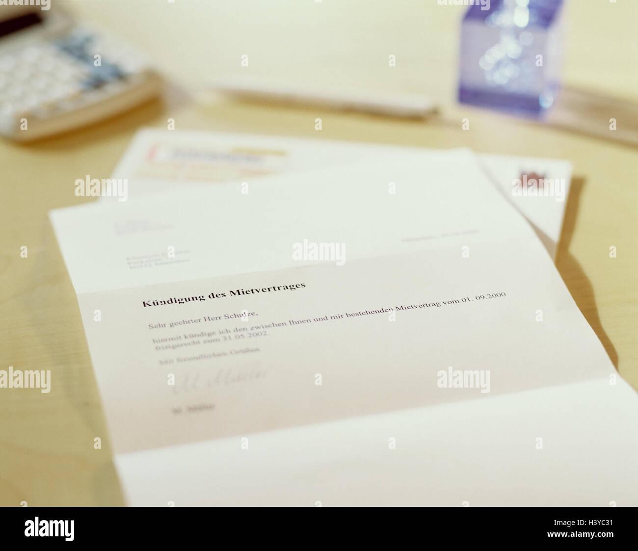 Brief, bemerken, mieten Vertrag Schreibtisch, Terminplaner, Form ...