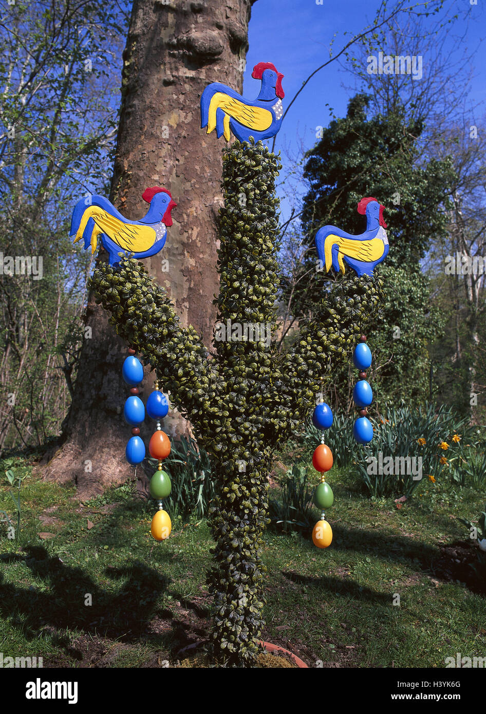 Ostern Garten Kunststoff Baum Osterdekoration Hölzerne Hähne
