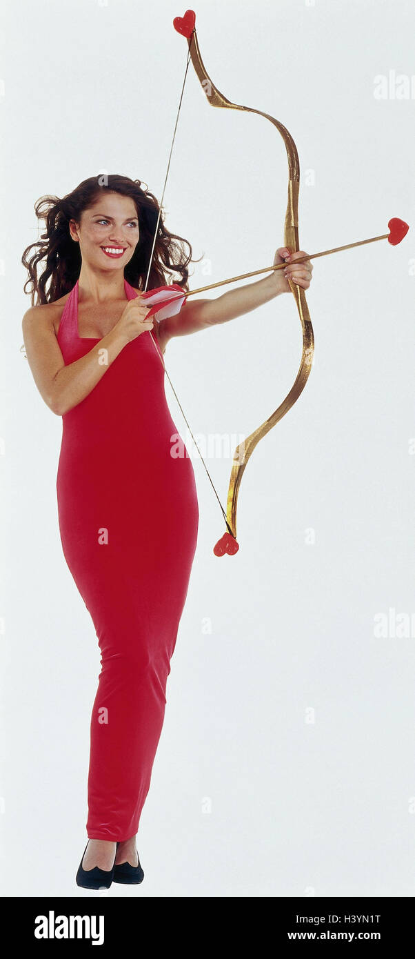 Frau, jung, Abendkleid, rot, Pfeil, Bogen, Herzen Frauen ...