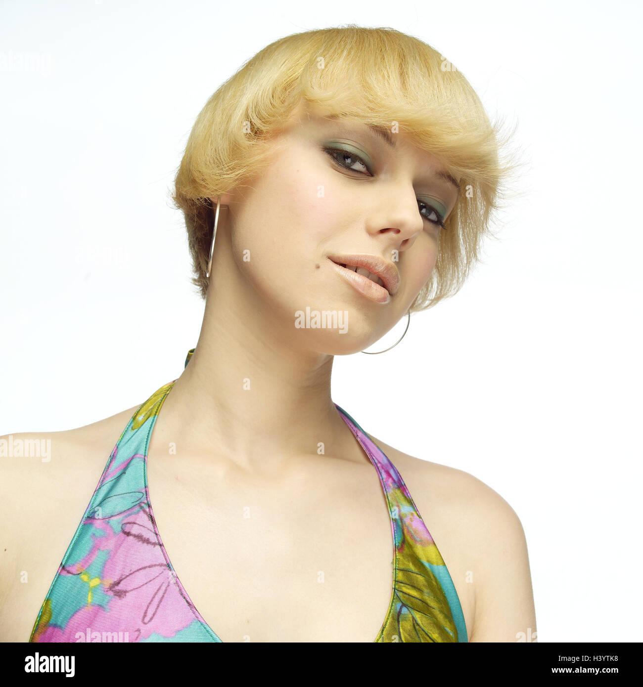 Frau Jung Blond Gesichts Spielen Abschirmenden Verlockend