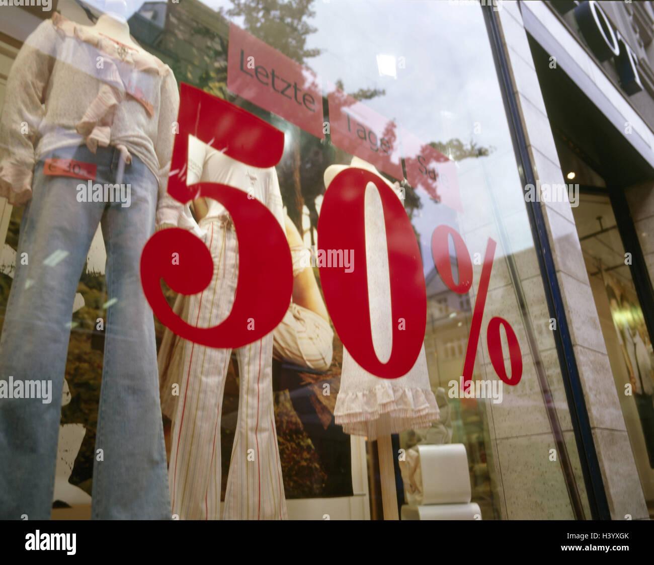 superior quality 988dd 5fb19 Kleidung Geschäft, Schaufenster, Beschriftung, 50 % Rabatt ...