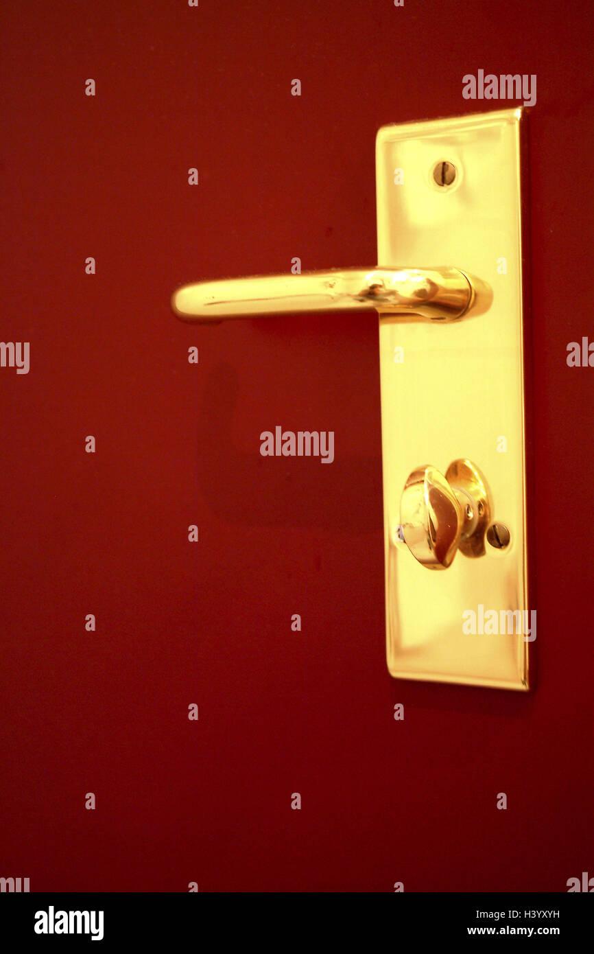 Tür, Detail, Türgriff, Schloss, Tür, Tür zum Bad, Griff, Tür ...