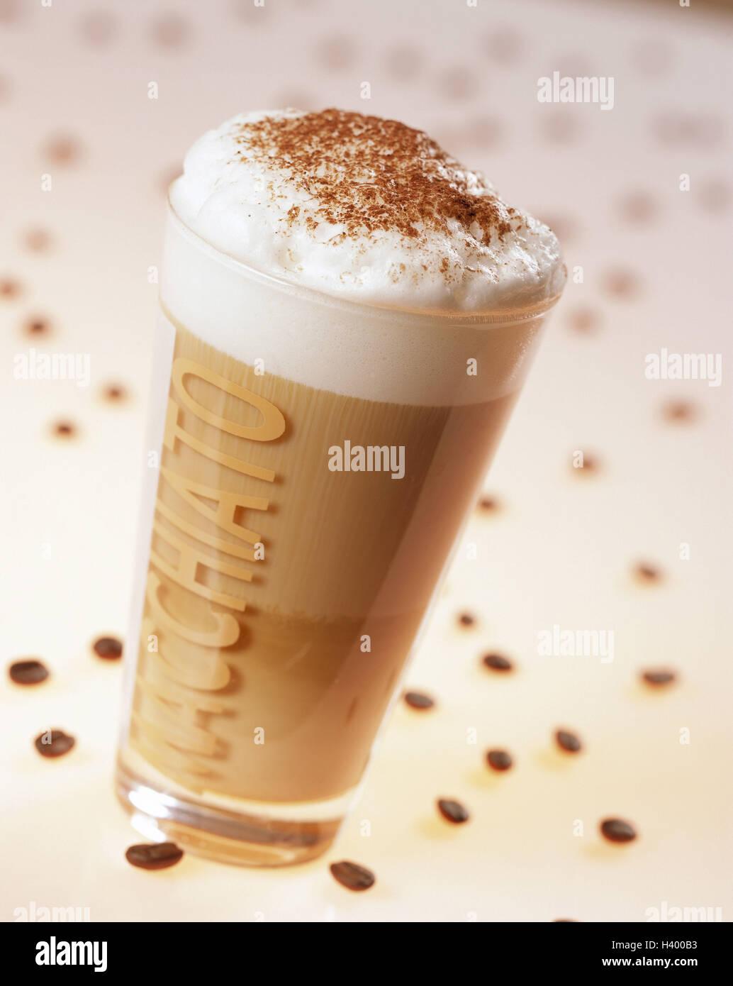 Glas, Latte Macchiato, Kaffee Bohnen essen, Luxus, Getränk ...