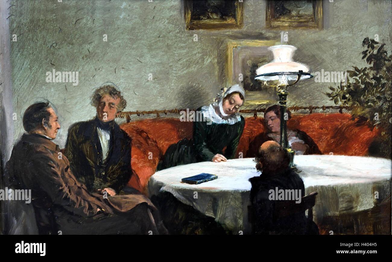 Abendgesellschaft - Soiree - Abend Firma Adolph Menzel 1815-1905 Berlin deutsche Deutschland Stockbild