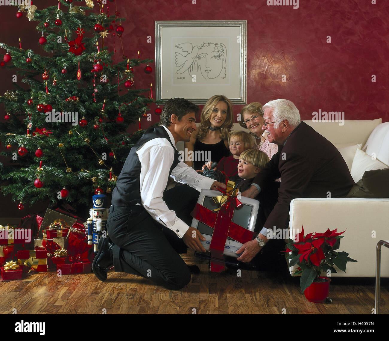 Familie, Weihnachten, Vertrieb präsentiert, stellt bitte, Wohnzimmer ...