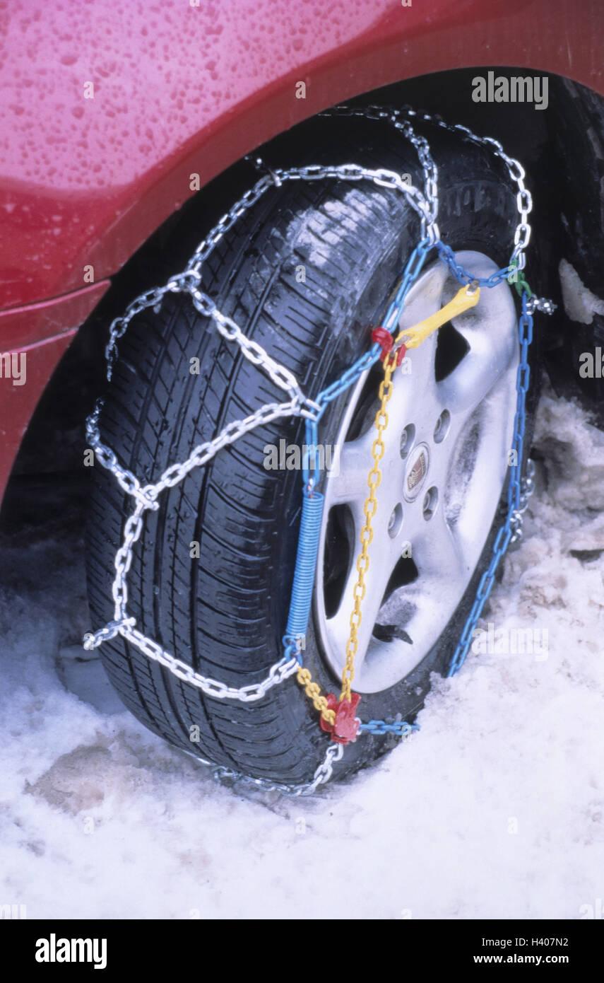 Schnee, Auto Reifen, Anti-Rutsch-Ketten, Detail, Auto, Pkw, Reifen, Vorderrad, Winterreifen, Anti-Rutsch-Kette, Stockbild