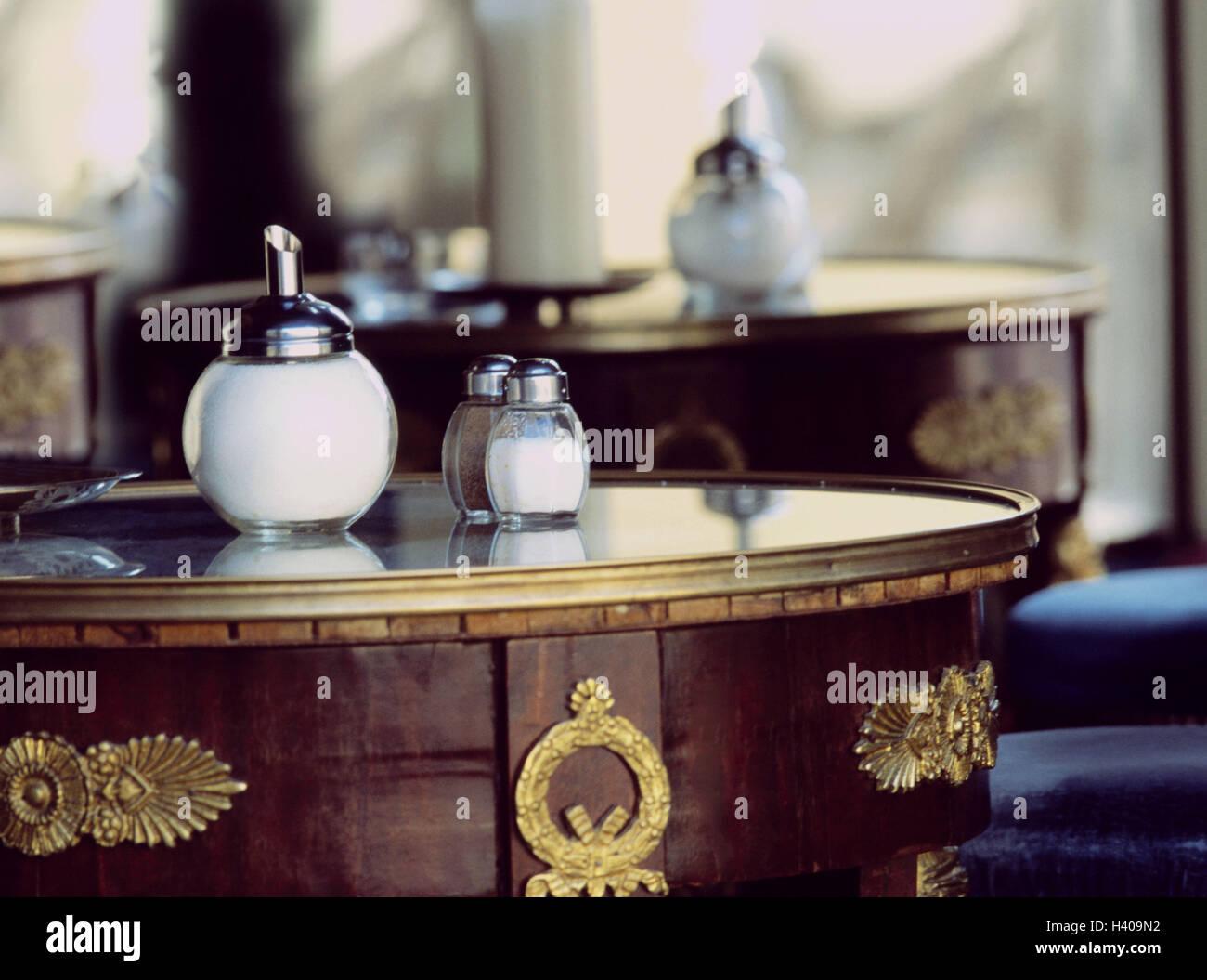 Cafe, Tischen, Detail, Bar, leer, unbeaufsichtigt, Tisch, Zucker ...