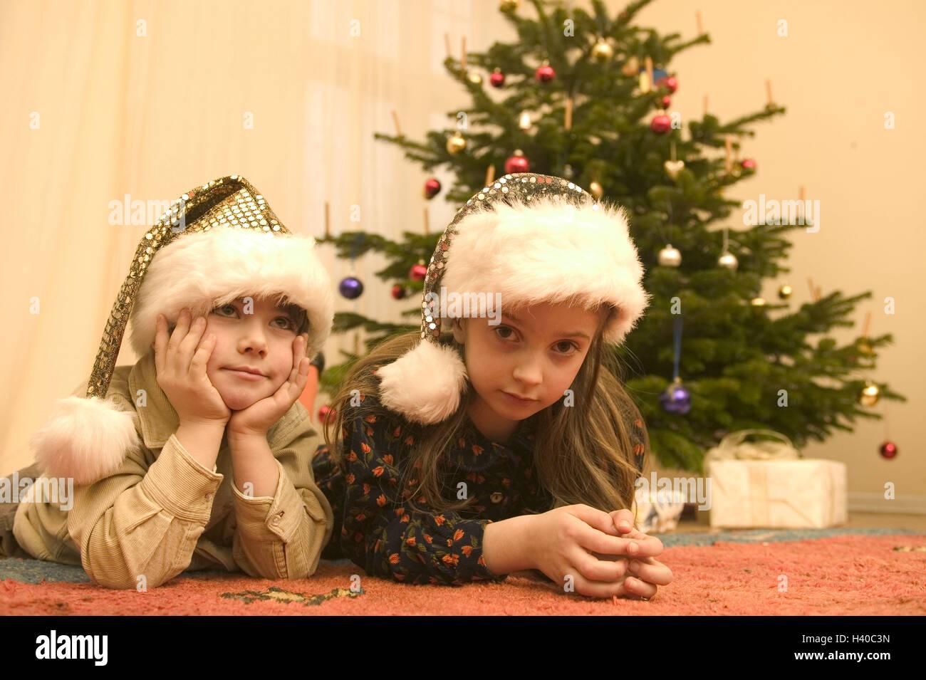 Weihnachten, sitzen Zimmer, Weihnachtsbaum, Geschenke, Kinder ...