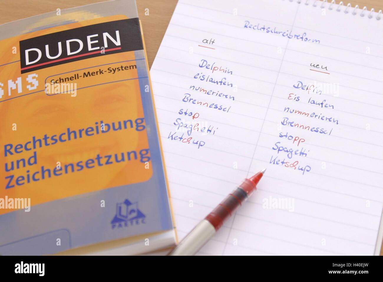 Spelling Reform Block Vergleich Art Und Weise Schreiben Alt Neu