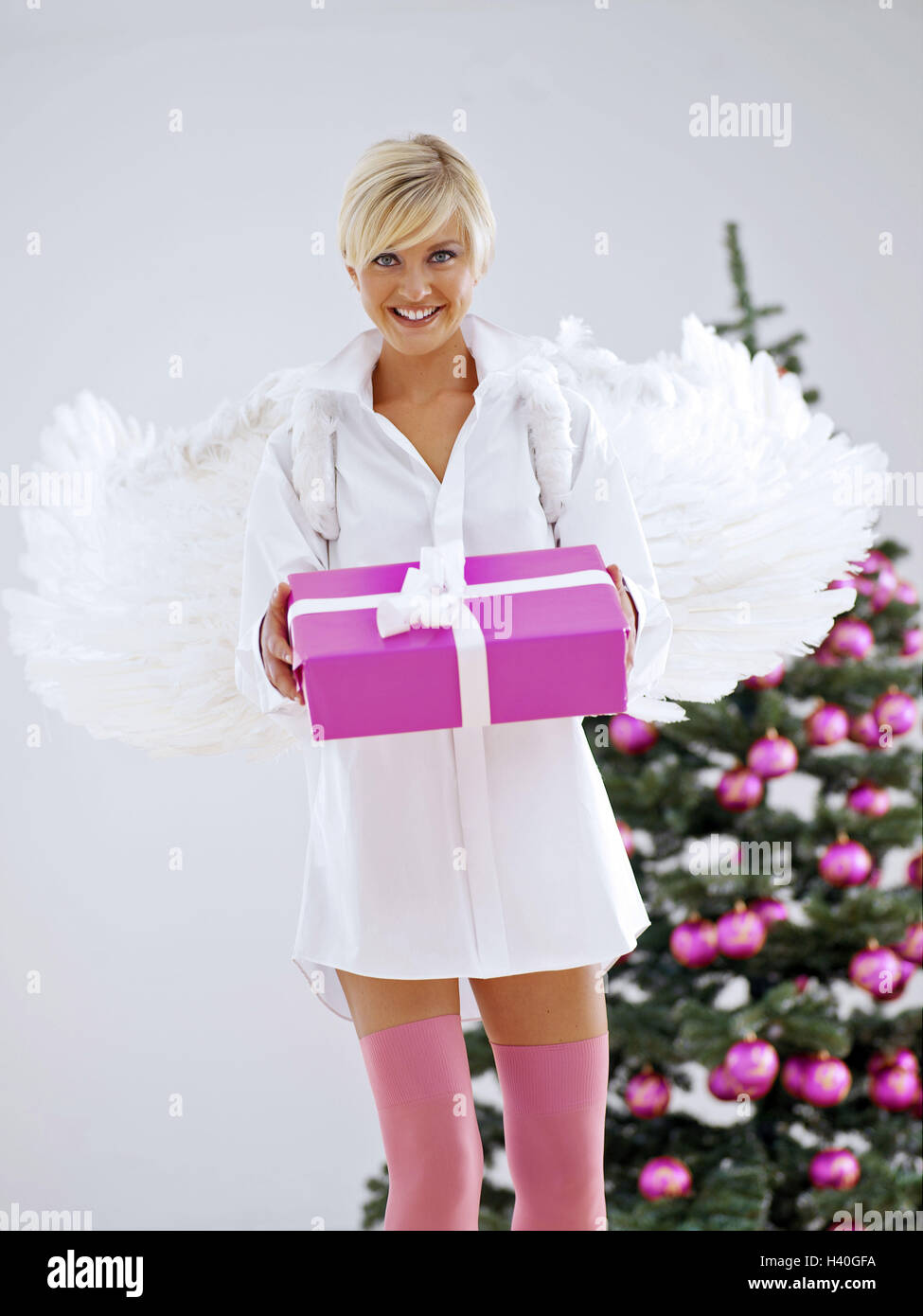 Frau, Engels-Flügel, präsentieren, Weihnachtsbaum Engel ...