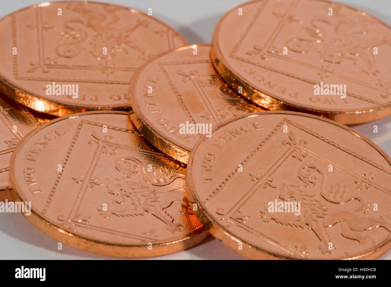 Flach Und überschneidungen Münzen 6 Glänzend Kupfer Zwei Pence
