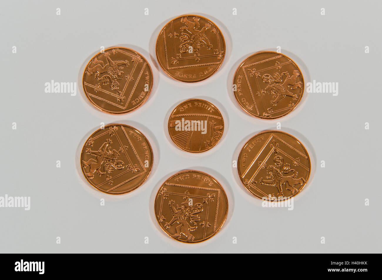 Nahaufnahme Detail Des Geldes Aktuelle Pfund Sterling Kupfer