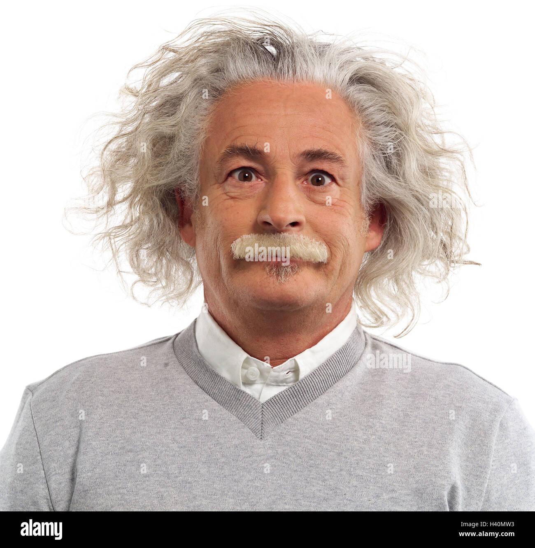 Mann Gereizt Nachahmung Albert Einstein Portrait